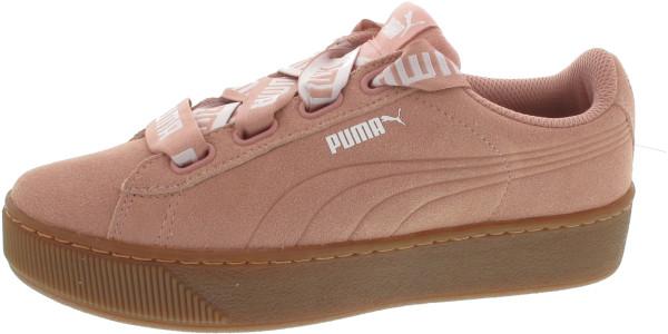 Puma Vikky Platform Ribbon Bol Sneaker in pearl beige peach